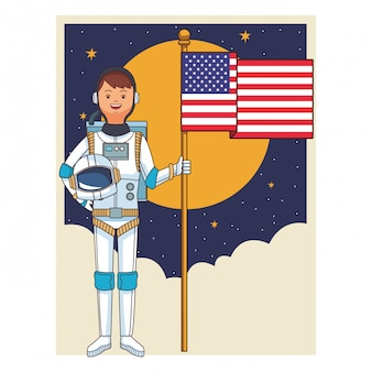 Astronaut mit flagge
