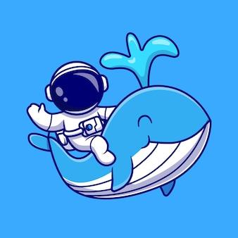 Astronaut mit niedlicher wal-karikatur-vektor-symbol-illustration