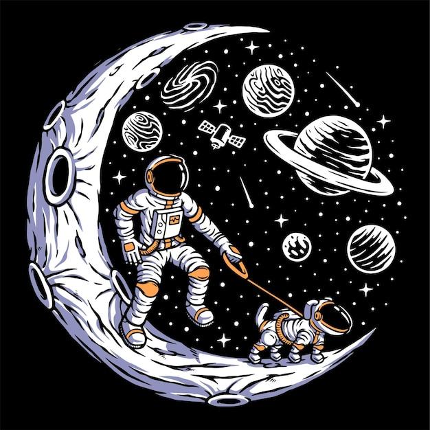 Astronaut mit seinem hund auf dem mond isoliert auf schwarz