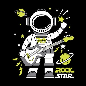 Astronaut rock star cartoon illustration illustration