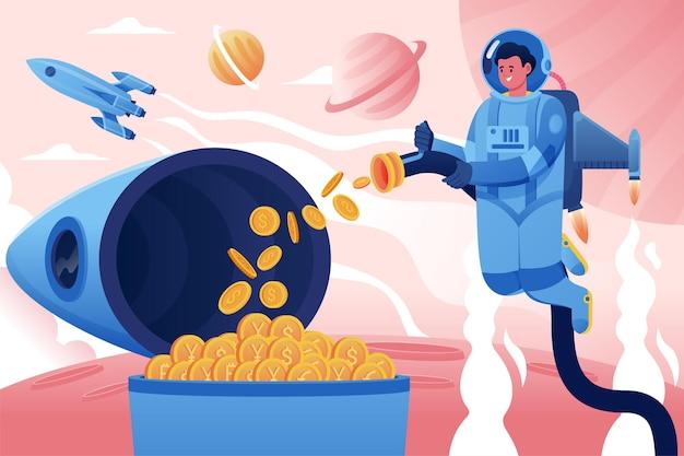 Astronaut sammelt kryptowährungsmünzen auf rocket