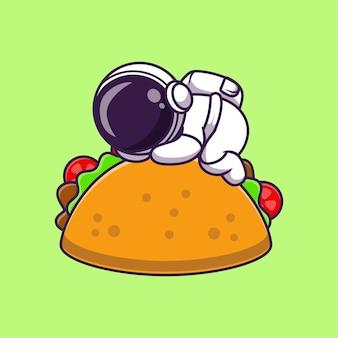 Astronaut schläft auf taco essen cartoon vektor icon illustration. wissenschaft essen symbol konzept isoliert premium-vektor. flacher cartoon-stil