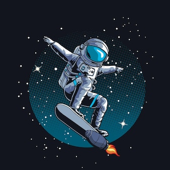 Astronaut schlittschuh im weltraum