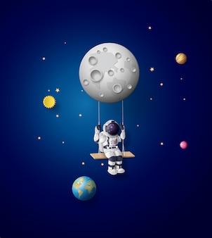 Astronaut schwebt in der stratosphäre. papierkunst und bastelstil.