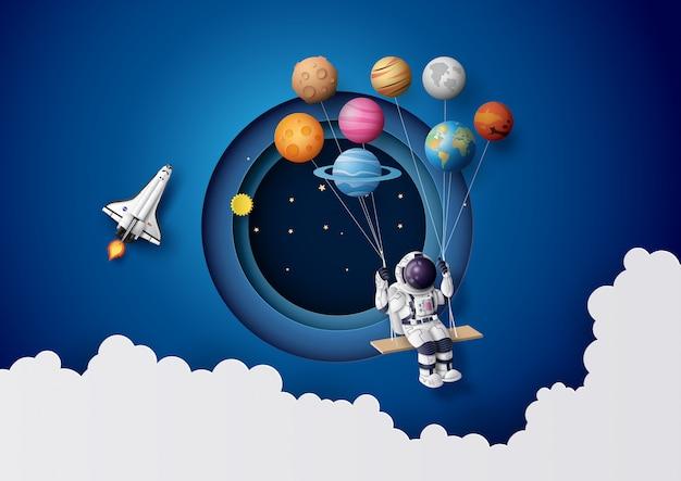 Astronaut schwebt in der stratosphäre.