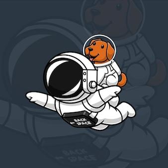 Astronaut schwebt mit dem hund im weltraum