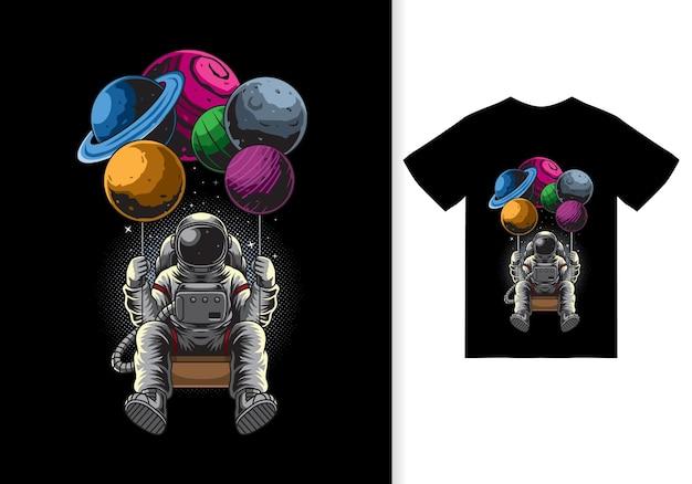 Astronaut schwingende planeten-karikaturillustration mit t-shirt-design-premium-vektor