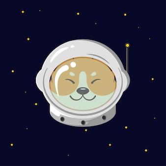 Astronaut shiba inu hundeillustration