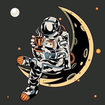 Astronaut sitzt auf dem mond, während er eine tasse kaffee hält
