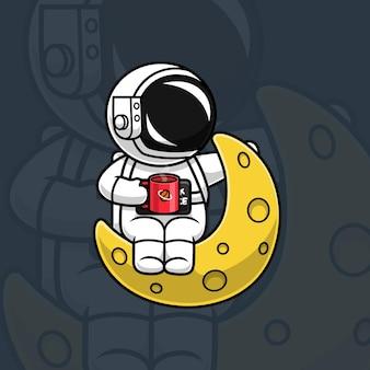 Astronaut sitzt auf mond und genießt den kaffee