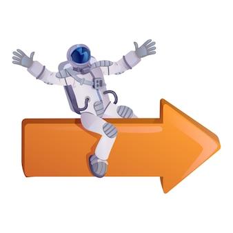 Astronaut sitzt auf pfeil flachen karikatur. raumfahrer, kosmonaut im raumanzug. gebrauchsfertige 2d-zeichenvorlage für werbung, animation und druckdesign. isolierter comic-held