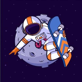 Astronaut skater im weltraum