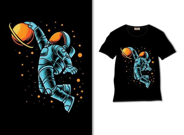 Astronaut slamdunk im weltraum illustration mit t-shirt-design