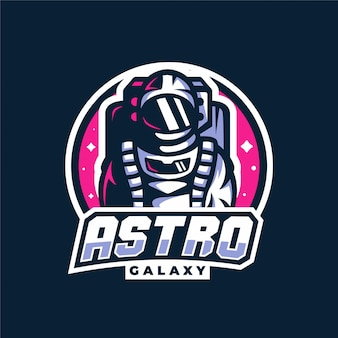 Astronaut space galaxy maskottchen gaming-logo