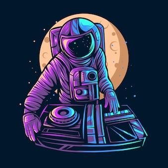 Astronaut spielen dj illustration