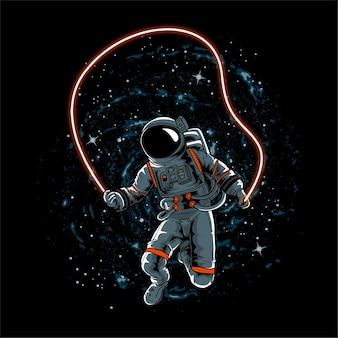 Astronaut spielt das seil