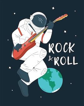 Astronaut spielt gitarre