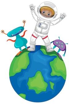 Astronaut steht auf einem planeten