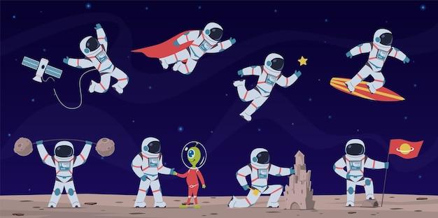Astronaut süße astronauten, die mit ausrüstung und raumschiff im weltraum arbeiten