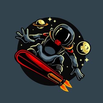Astronaut surfer sport maskottchen logo