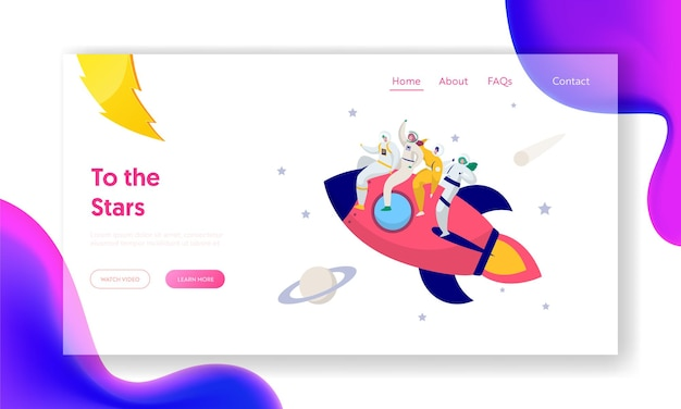Astronaut team travel rocket intergalactic space landing page.