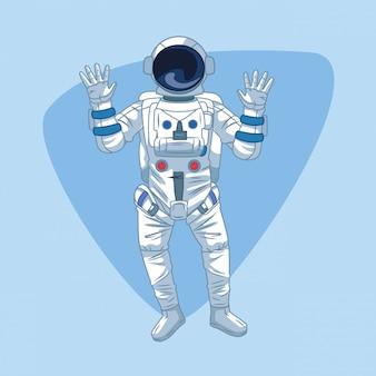 Astronaut über blau