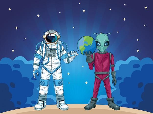 Astronaut und alien in der raumzeichenillustration