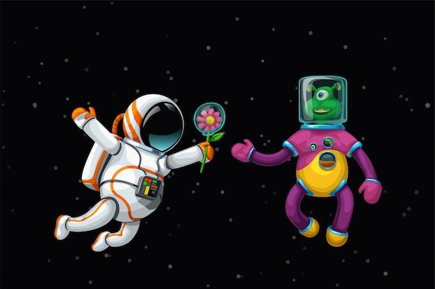 Astronaut und außerirdischer im weltraum
