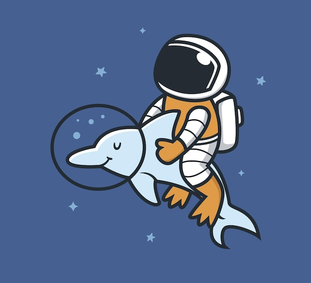 Astronaut und delfine im weltraum