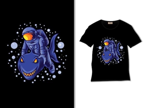 Astronaut und die hai-abenteuerillustration mit t-shirt-design