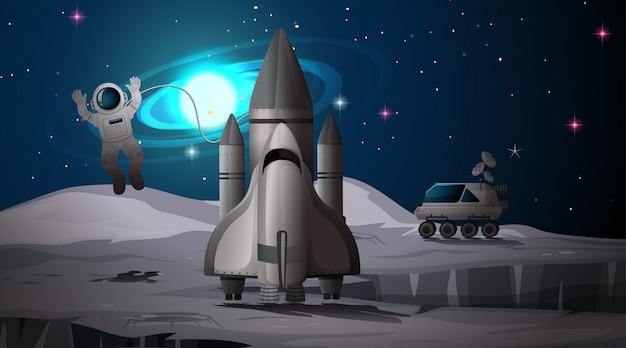Astronaut und rakete auf dem planeten