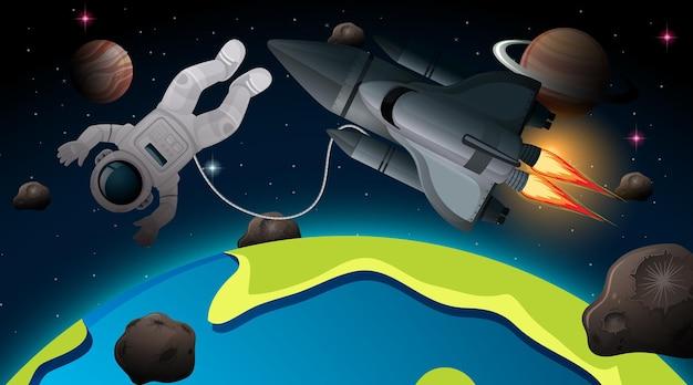 Astronaut und raumschiff in der weltraumszene