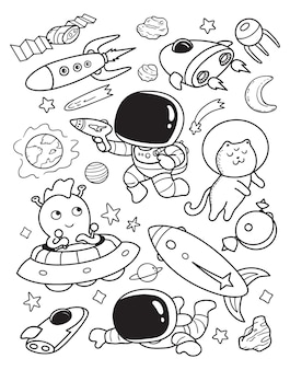 Astronaut und ufo kritzeln