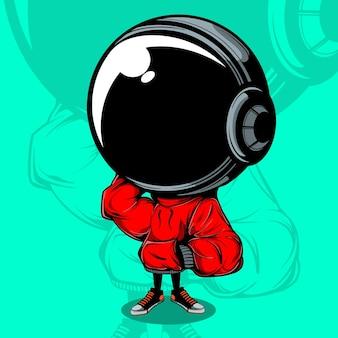 Astronaut vector illustration mit urban street wear
