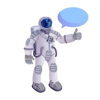 Astronaut zeigt daumen oben flache karikaturillustration lokalisiert