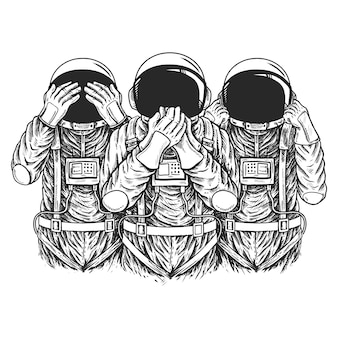 Astronaut zeigt symbol drei weise affen