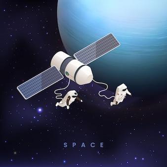 Astronauten auf der weltraumkarte