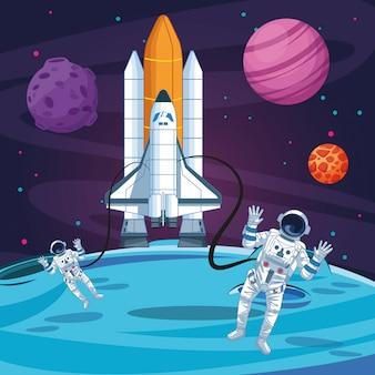 Astronauten aus den raketenplaneten erforschen den mondraum