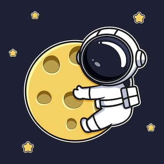 Astronauten-cartoon-design, das den mond umarmt