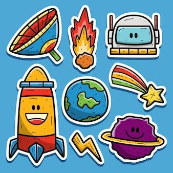 Astronauten cartoon gekritzel aufkleber design