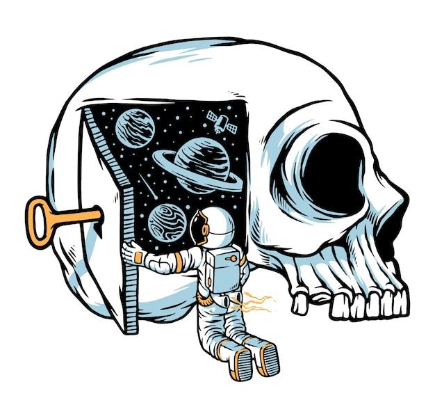 Astronauten denken daran, die türen der universumsillustration zu öffnen