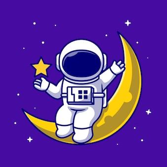 Astronauten, die auf dem mond mit stern-karikatur-symbol-illustration sitzen. science-fiction-raumikone isoliert. flacher cartoon-stil