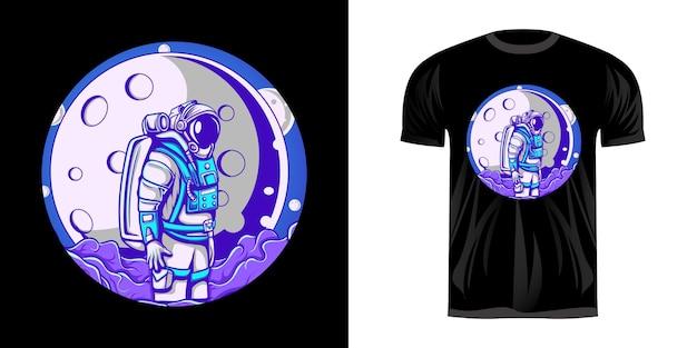 Astronauten-illustrationsdesign und mondansicht für t-shirt-design