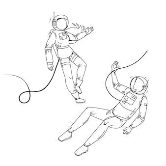 Astronauten im raumanzug fliegen weltraum schwarze linie bleistiftzeichnung vektor. kosmonauten-mann und frau mit raumanzug und helm. charaktere spacepeople universum kosmos explorer mission illustration