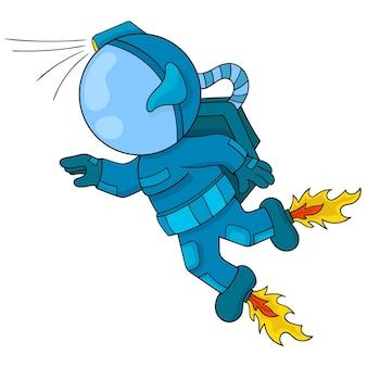 Astronauten in raffinierten anzügen fliegen durch den weltraum. vektor-illustration von idealen