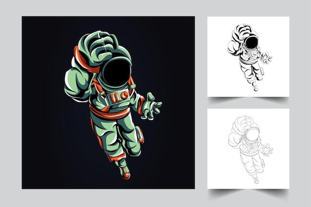 Astronauten kämpfen kunstwerk illustration