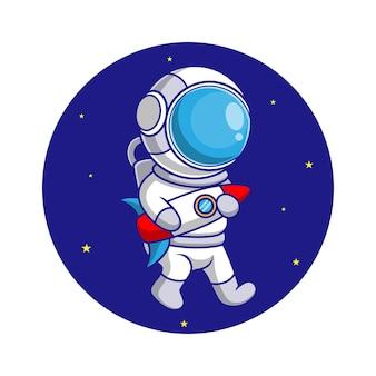 Astronauten-karikatur im weltraum