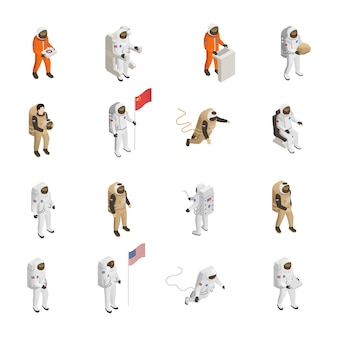 Astronauten kosmonauten raumanzug zeichensatz