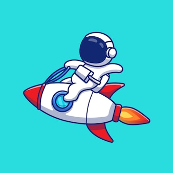 Astronauten-reitraketen-karikatur-symbol-illustration. raumfahrt-technologie-symbol-konzept isoliert premium. flacher cartoon-stil