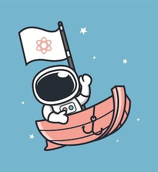 Astronauten segeln auf booten im weltraum